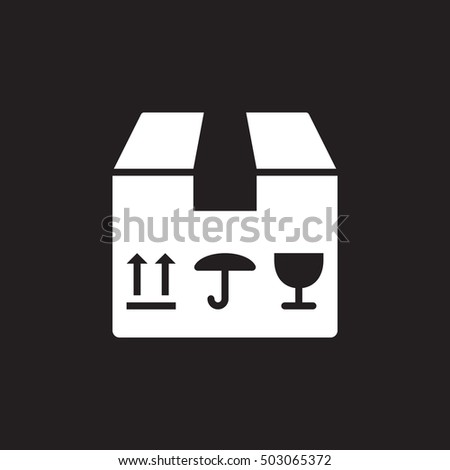 fragile package icon vector, filled flat sign, solid pictogram isolated on black, logo illustration