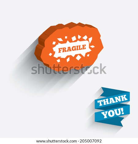 Fragile parcel sign icon. Delicate package delivery symbol. White icon on orange 3D piece of wall. Carved in stone with long flat shadow. Vector