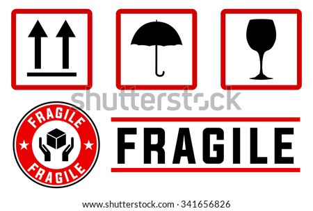 fragile signs and stamps in red and black colors - stock vector