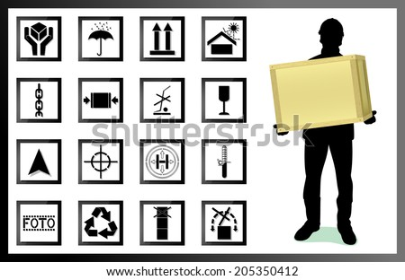 fragile. silhouette of a man with a box. Types and values of goods labeling - stock vector