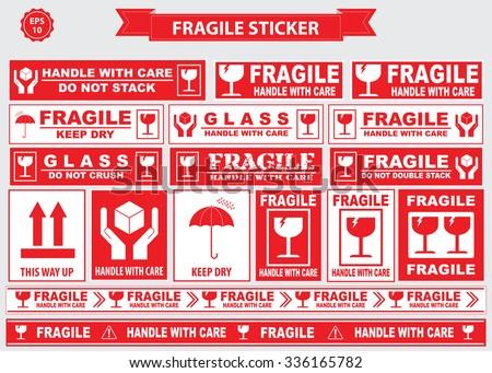 Fragile Sticker sign. easy to modify - stock vector