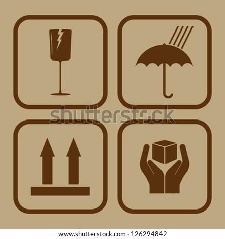Fragile symbol on cardboard background - stock vector