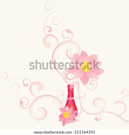 fragrance pink flower - stock vector