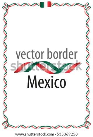 frame border ribbon colors mexico flag stock vector 535369258