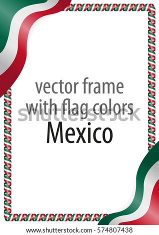 frame border ribbon colors mexico flag stock vector 574807438