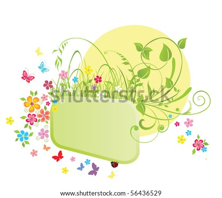 Frame and flowers - stock vector