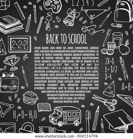 Frame back to school tools sketch icons on chalk board vector illustration. Background School. - stock vector