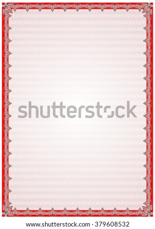 Frame, blank, border for diploma, certificate Tanger with a pattern of subtle stripes and floral elements petals. Red. Vector