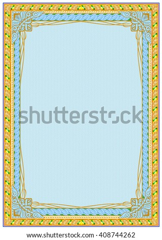 Frame Border Background Diploma Certificate Blank with Stock Vector ...