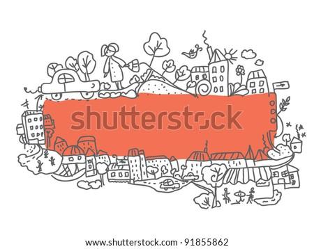 Frame city doodle design funny cartoon - stock vector