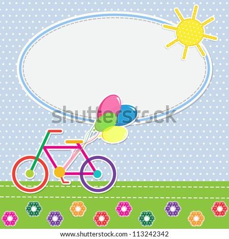 Frame colorful bike. Vector illustration - stock vector