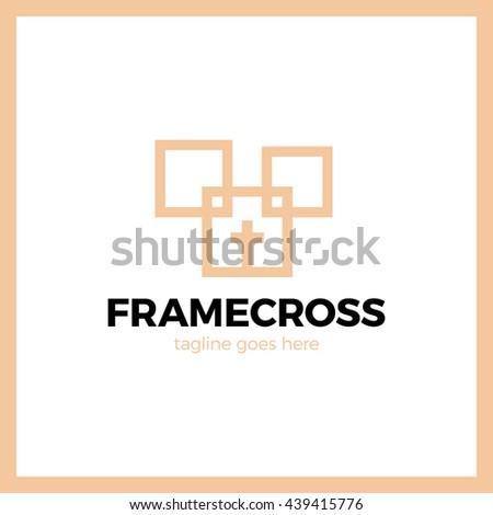 Frame Cross Church Logo. Christian Box Square Logotype. Fashion style - stock vector