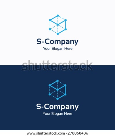 Frame cube 3D logo template with letter S - stock vector