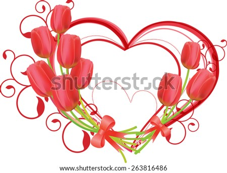 Frame decorated with heart tulips, vector. - stock vector