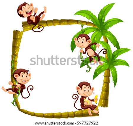 frame design with monkeys on coconut tree illustration - Monkey Picture Frame