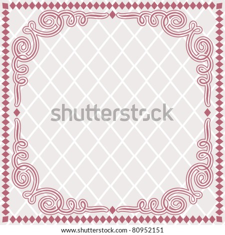frame - diamond shapes and calligraphy border - stock vector