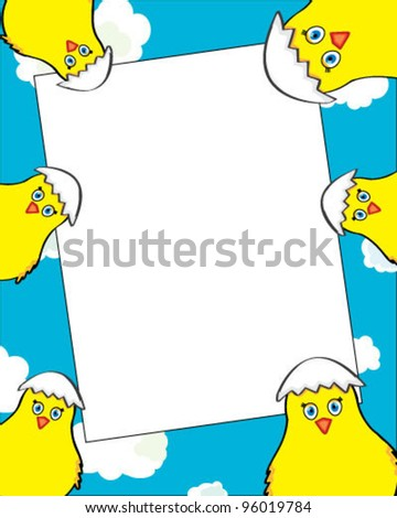 Frame for greeting card with chickens - stock vector