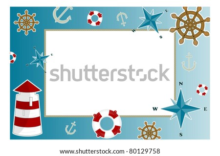 frame for photo with marine issues - stock vector
