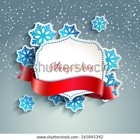 Frame for text in a vintage style with a ribbon against the background paper snowflakes and snow - stock vector