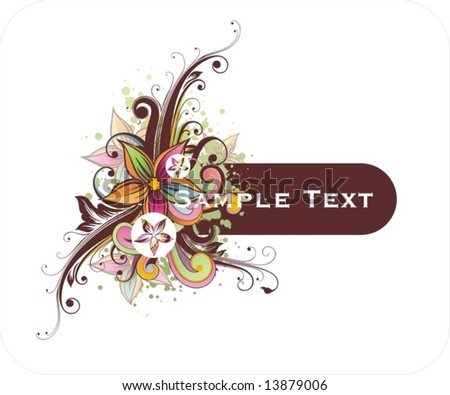 frame for text with floral ornament and grunge elements