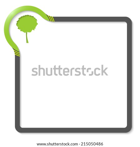 frame for text with green corner and tree symbol - stock vector