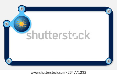 frame for text with screws and sun - stock vector