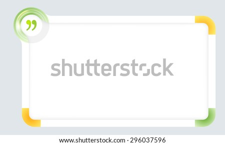 Frame for your text with colored corners and quotation mark - stock vector
