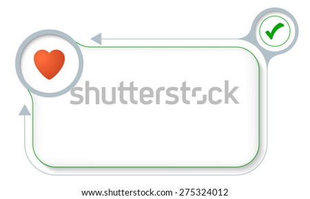 Frame for your text with heart and check box - stock vector
