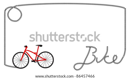 "Frame formed by tire print of a red mountain  bike that formed the word ""bike"" in the right corner, blank space for text in the middle"