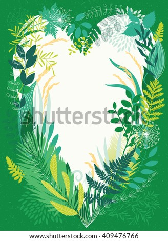 Frame from grass in the form of heart - stock vector