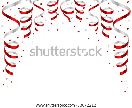 frame from red streamers - stock vector