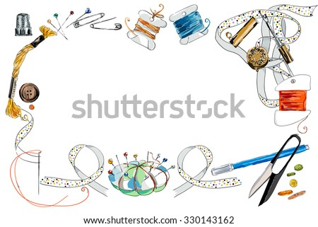 Frame from sewing tools and colored tape. Sewing kit. Scissors, bobbins with thread and needles. Threads & tools for embroidery. Hand drawn vector illustration - stock vector