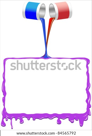 Frame from spilled  paint.Vector. - stock vector