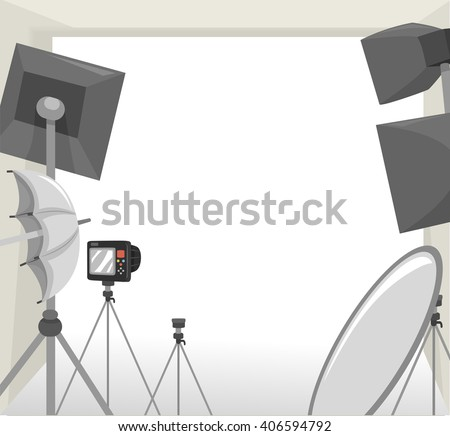 Frame Illustration Featuring Equipment Commonly Used During Photo Shoots - stock vector