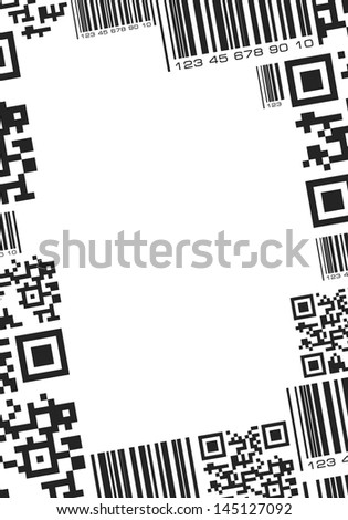 Frame in barcode style - stock vector
