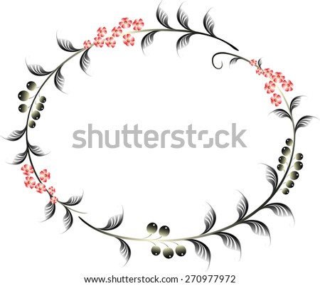 Frame in the shape of an ellipse of berries and red flowers. EPS10 vector illustration - stock vector
