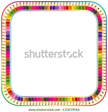 Frame made from color pencils, version with round corner - stock vector