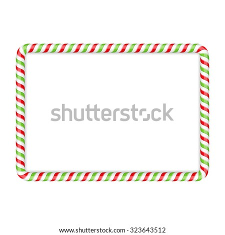Frame made of candy cane, red and green colors, vector eps10 illustration - stock vector