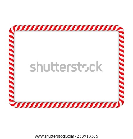 Frame made of candy cane, vector eps10 illustration - stock vector
