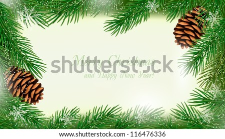 Frame made of christmas tree branches with pine cones. Vector. - stock vector