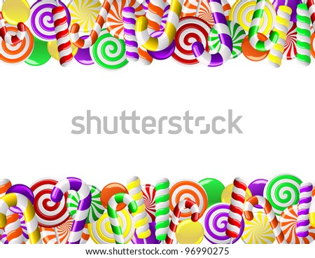 Frame made of colorful candies. Seamless pattern - stock vector