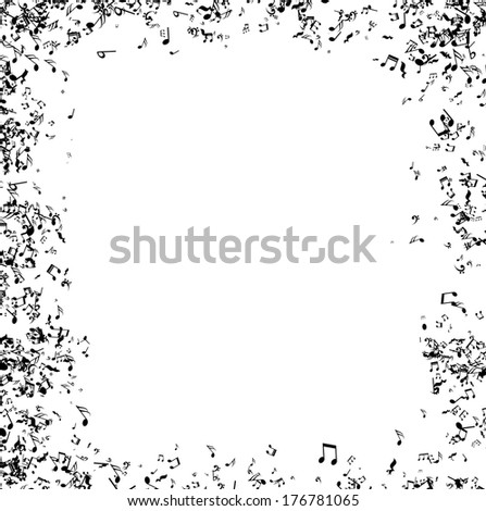 frame made of little black messy music notes vector - Music Picture Frame