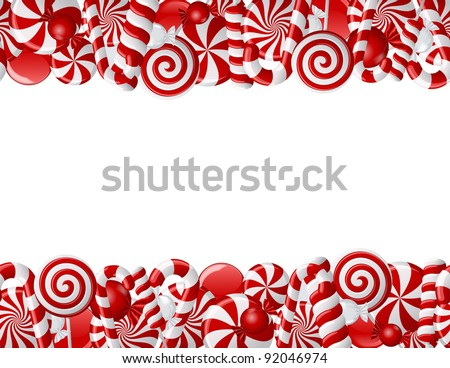 Frame made of red and white candies. Seamless pattern - stock vector