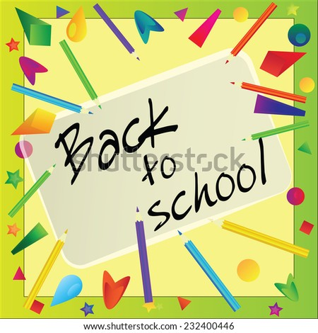 Frame made with color pencils - back to school vector background - stock vector