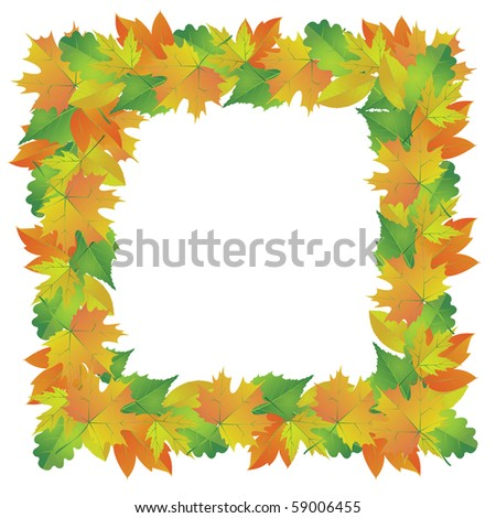 Frame of autumn leaves . Vector