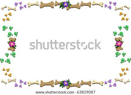 Frame of Bones, Paw Prints, and Flowers - stock vector