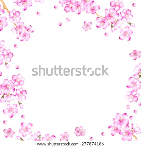 Frame of cherry blossom flowers and ready for text place. Vector illustration.