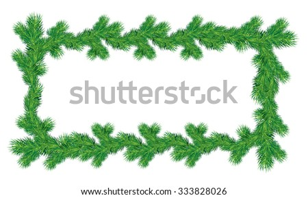 Frame of Christmas fir tree branches in rectangular shape isolated on white background. Merry Christmas and Happy New Year holiday design. - stock vector