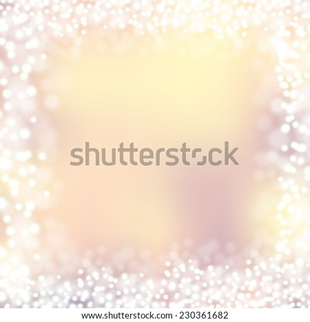 Frame of Christmas lights bokeh vanilla pink background blur - stock vector