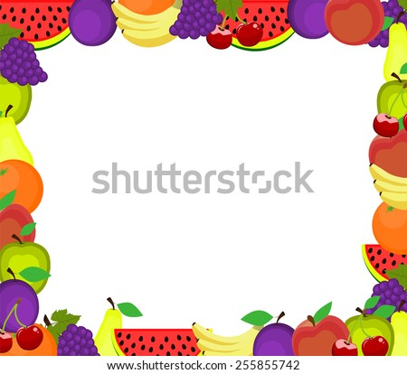 frame of fruits - stock vector